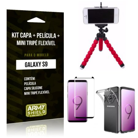 Kit Galaxy S9 Capa Silicone + Película de Vidro + Mini Tripé Flexível - Armyshield