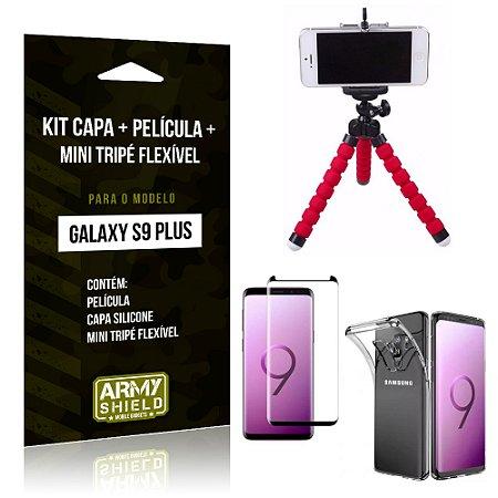 Kit Galaxy S9 Plus Capa Silicone + Película de Vidro + Mini Tripé Flexível - Armyshield