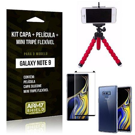 Kit Galaxy Note 9 Capa Silicone + Película de Vidro + Mini Tripé Flexível - Armyshield