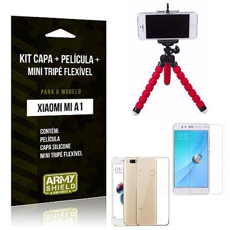 Kit Xiaomi Mi A1 Capa Silicone + Película de Vidro + Mini Tripé Flexível - Armyshield