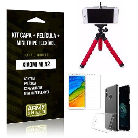 Kit Xiaomi Mi A2 Capa Silicone + Película de Vidro + Mini Tripé Flexível - Armyshield