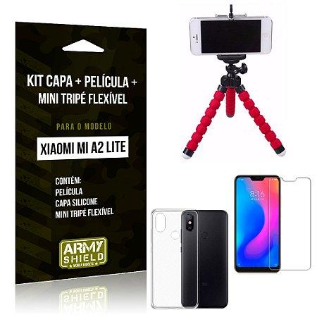 Kit Xiaomi Mi A2 Lite (Redmi 6 Pro) Capa Silicone + Película de Vidro + Mini Tripé Flexível - Armyshield