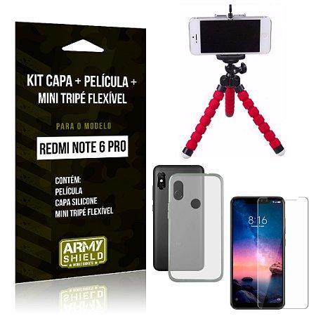 Kit Xiaomi Redmi Note 6 Pro Capa Silicone + Película de Vidro + Mini Tripé Flexível - Armyshield
