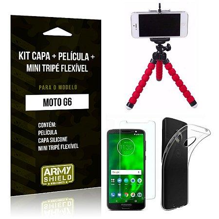 Kit Moto G6 Capa Silicone + Película de Vidro + Mini Tripé Flexível - Armyshield