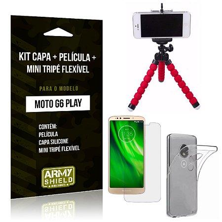 Kit Moto G6 Play Capa Silicone + Película de Vidro + Mini Tripé Flexível - Armyshield