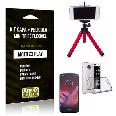 Kit Moto Z 3 Play Capa Silicone + Película de Vidro + Mini Tripé Flexível - Armyshield