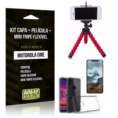 Kit Moto One Capa Silicone + Película de Vidro + Mini Tripé Flexível - Armyshield