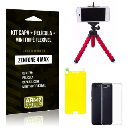 Kit Zenfone 4 Max - 5.5' ZC554KL Capa Silicone + Película Gel + Mini Tripé Flexível - Armyshield