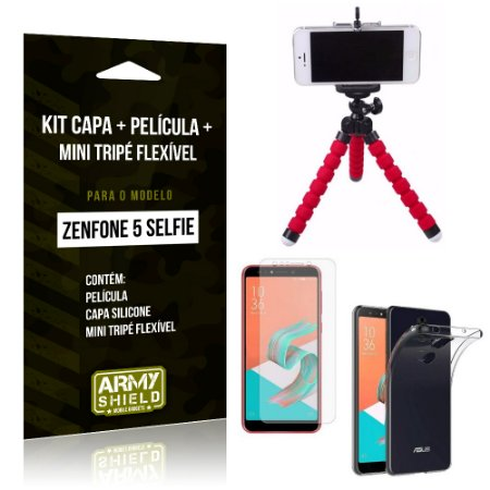 Kit Zenfone 5 Selfie ZC600KL Capa Silicone + Película Gel + Mini Tripé Flexível - Armyshield