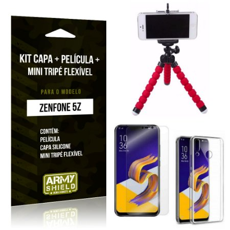 Kit Zenfone 5Z ZS620KL Capa Silicone + Película Gel + Mini Tripé Flexível - Armyshield