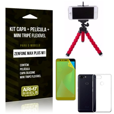Kit Zenfone Max Plus M1 ZB570TL Capa Silicone + Película Gel + Mini Tripé Flexível - Armyshield