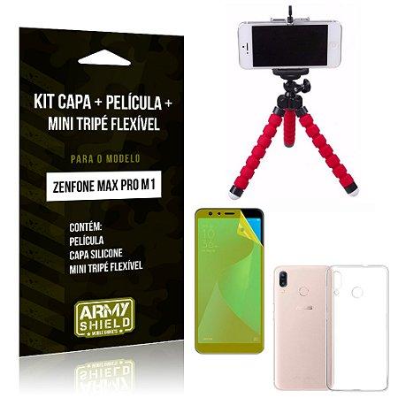 Kit Zenfone Max Pro M1 ZB602KL Capa Silicone + Película Gel + Mini Tripé Flexível - Armyshield