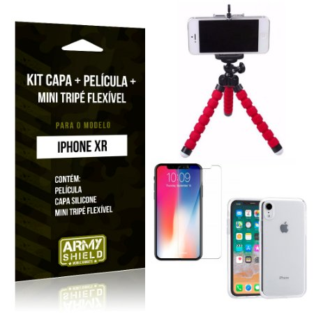 Kit iPhone XR Capa Silicone + Película de Vidro + Mini Tripé Flexível - Armyshield