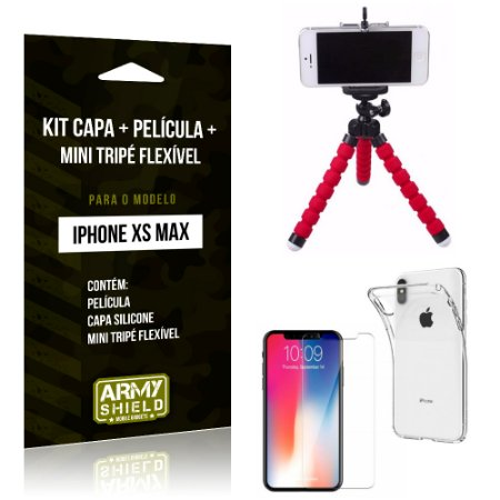 Kit iPhone XS Max Capa Silicone + Película de Vidro + Mini Tripé Flexível - Armyshield