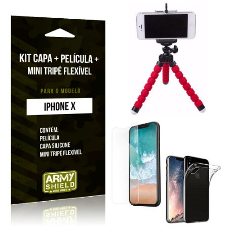 Kit iPhone X Capa Silicone + Película de Vidro + Mini Tripé Flexível - Armyshield