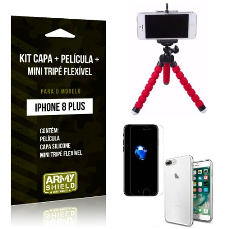 Kit iPhone 8 Plus Capa Silicone + Película de Vidro + Mini Tripé Flexível - Armyshield