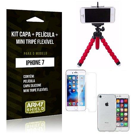 Kit iPhone 7 Capa Silicone + Película de Vidro + Mini Tripé Flexível - Armyshield