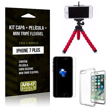 Kit iPhone 7 Plus Capa Silicone + Película de Vidro + Mini Tripé Flexível - Armyshield