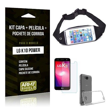 Kit LG K10 Power Capa Silicone + Película de Vidro + Pochete para Corrida - Armyshield