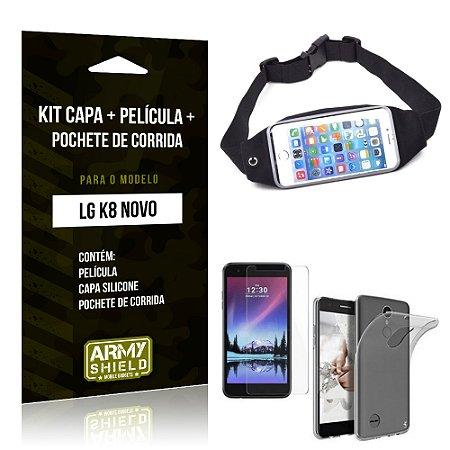 Kit LG K8 Novo Capa Silicone + Película de Vidro + Pochete para Corrida - Armyshield