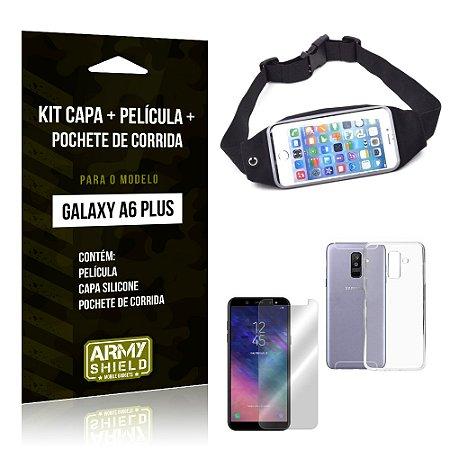 Kit Galaxy A6 Plus Capa Silicone + Película de Vidro + Pochete para Corrida - Armyshield
