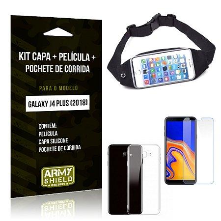 Kit Galaxy J4 Plus (2018) Capa Silicone + Película de Vidro + Pochete para Corrida - Armyshield