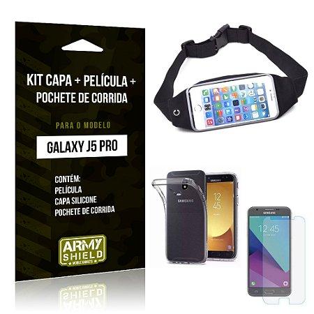 Kit Galaxy J5 Pro 2017 Capa Silicone + Película de Vidro + Pochete para Corrida - Armyshield