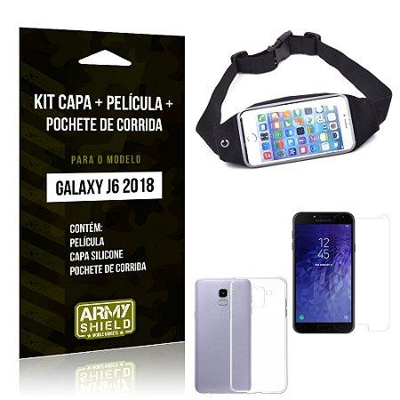 Kit Galaxy J6 (2018) Capa Silicone + Película de Vidro + Pochete para Corrida - Armyshield