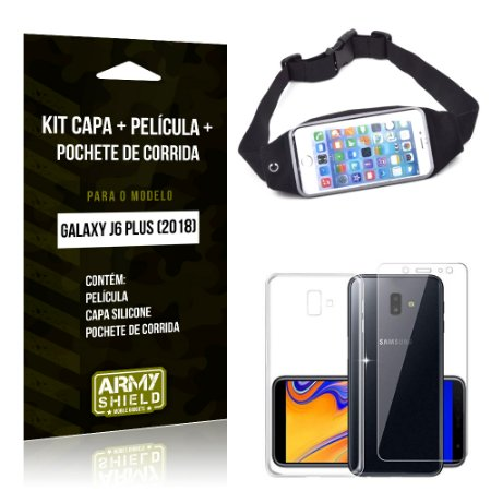 Kit Galaxy J6 Plus (2018) Capa Silicone + Película de Vidro + Pochete para Corrida - Armyshield