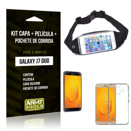 Kit Galaxy J7 Duo (2018) Capa Silicone + Película de Vidro + Pochete para Corrida - Armyshield