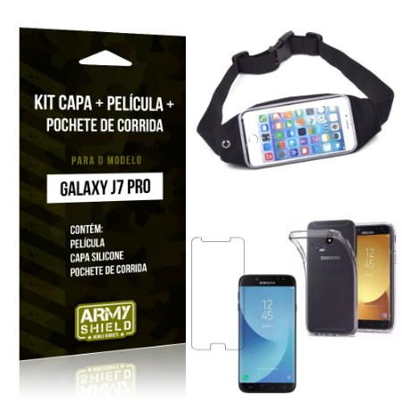 Kit Galaxy J7 Pro (2017) Capa Silicone + Película de Vidro + Pochete para Corrida - Armyshield