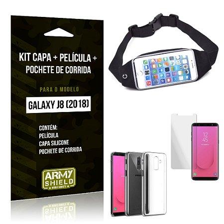 Kit Galaxy J8 (2018) Capa Silicone + Película de Vidro + Pochete para Corrida - Armyshield
