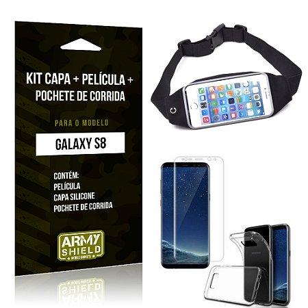 Kit Galaxy S8 Capa Silicone + Película de Vidro + Pochete para Corrida - Armyshield