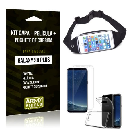 Kit Galaxy S8 Plus Capa Silicone + Película de Vidro + Pochete para Corrida - Armyshield