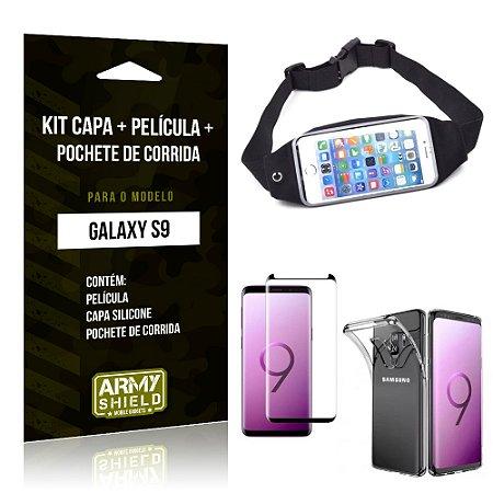 Kit Galaxy S9 Capa Silicone + Película de Vidro + Pochete para Corrida - Armyshield