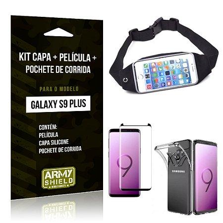 Kit Galaxy S9 Plus Capa Silicone + Película de Vidro + Pochete para Corrida - Armyshield