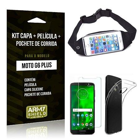 Kit Moto G6 Plus Capa Silicone + Película de Vidro + Pochete para Corrida - Armyshield