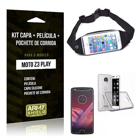 Kit Moto Z 3 Play Capa Silicone + Película de Vidro + Pochete para Corrida - Armyshield