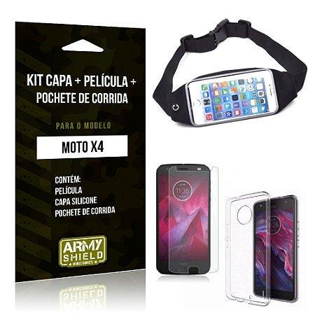 Kit Moto X4 Capa Silicone + Película de Vidro + Pochete para Corrida - Armyshield