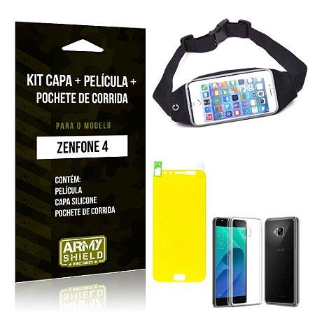Kit Zenfone 4 - 5.5' ZE554KL Capa Silicone + Película Gel + Pochete para Corrida - Armyshield