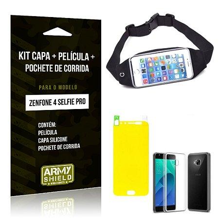 Kit Zenfone 4 Selfie Pro 5.2' ZD552KL Capa Silicone + Película Gel + Pochete para Corrida - Armyshield