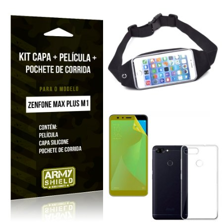 Kit Zenfone Max Plus M1 ZB570TL Capa Silicone + Película Gel + Pochete para Corrida - Armyshield
