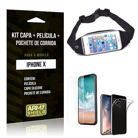 Kit iPhone X Capa Silicone + Película de Vidro + Pochete para Corrida - Armyshield