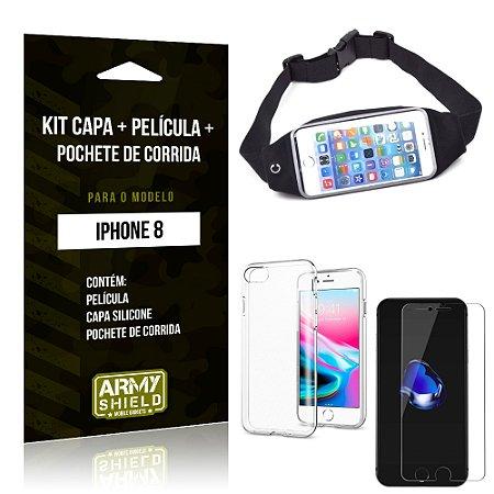 Kit iPhone 8 Capa Silicone + Película de Vidro + Pochete para Corrida - Armyshield