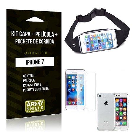 Kit iPhone 7 Capa Silicone + Película de Vidro + Pochete para Corrida - Armyshield