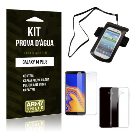Kit Capa à Prova D'água Galaxy J4 Plus Prova Dágua + Película + Capa - Armyshield