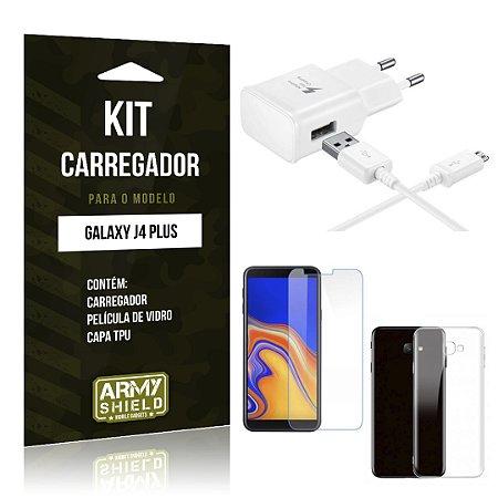 Kit Carregador Galaxy J4 Plus Carregador + Película + Capa - Armyshield