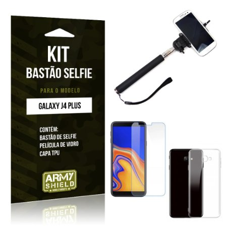 Kit Bastão Selfie Galaxy J4 Plus Bastão + Película + Capa - Armyshield