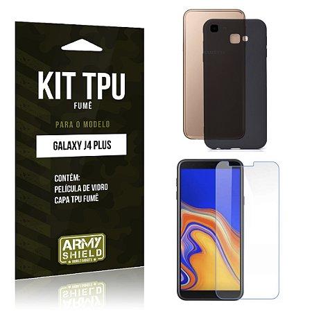 Kit Capa Fumê Galaxy J4 Plus Película + Capa Fumê - Armyshield