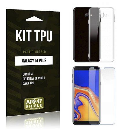 Kit Capa Silicone Galaxy J4 Plus Película + Capa - Armyshield